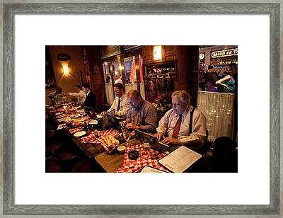 Photojournalists In The Traveling Press Framed Print by Everett