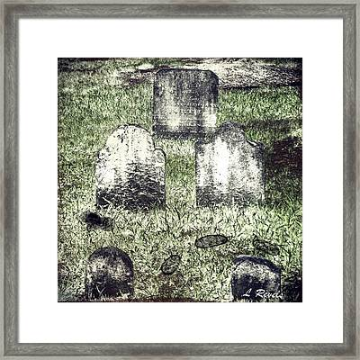 Photos In An Attic - Still They Wait Framed Print by Leslie Revels Andrews