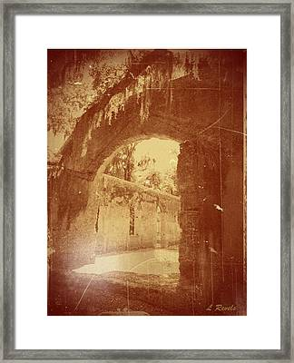 Photos In An Attic - The Ruins Framed Print by Leslie Revels Andrews