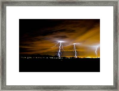 Phx Night Lightning #1 Framed Print by Kenny Jalet