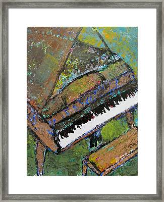 Piano Aqua Wall - Cropped Framed Print