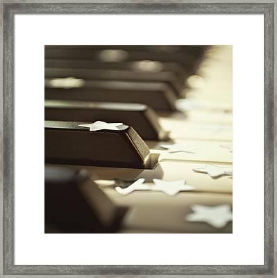 Piano Keys And Stars Framed Print by Photo - Lyn Randle
