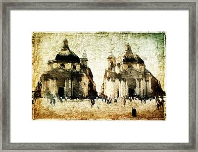 Framed Print featuring the digital art Piazza Del Popolo by Andrea Barbieri