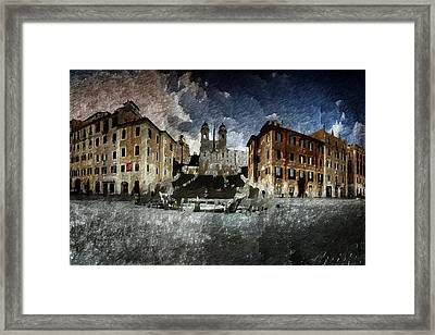 Framed Print featuring the digital art Piazza Di Spagna by Andrea Barbieri