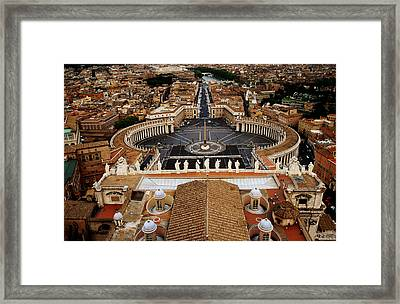 Piazza San Pietro From St Peter Cathedral's Dome, Rome, Italy Framed Print by Witold Skrypczak