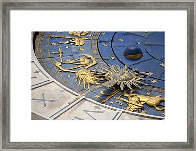 Piazza (square) San Marco, Clock Tower Detail Framed Print by Maremagnum
