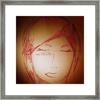 #picfx #woman #red #pen #fine #liner Framed Print