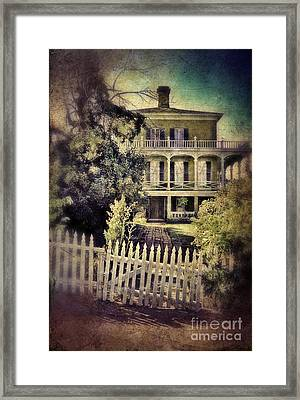 Picket Gate To Large House Framed Print