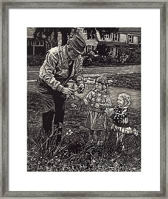 Picking Flowers With Grandpa Framed Print by Robert Goudreau