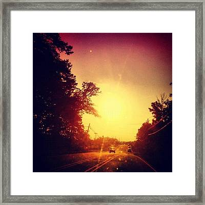 Picking Up Dinner #driving #sunset #sun Framed Print by Katie Williams