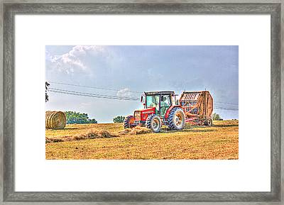 Picking Up Hay Framed Print by Barry Jones