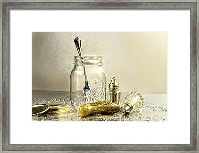 Pickle With A Jar And Antique Salt And Pepper Shakers Framed Print by Sandra Cunningham