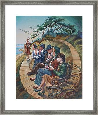 Picnic At Lepe Framed Print by Gilly Marklew