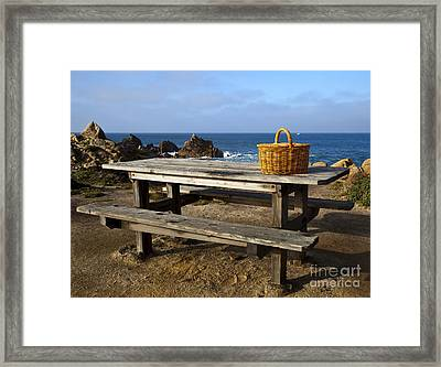 Picnic Basket On Wooden Picnic Table Framed Print