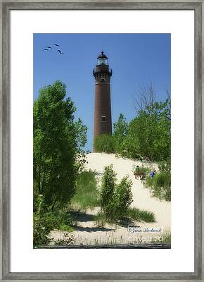 Framed Print featuring the photograph Picnic By The Lighthouse by Joan Bertucci