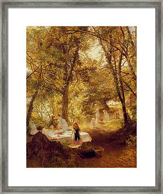 Picnic Framed Print by Charles James Lewis