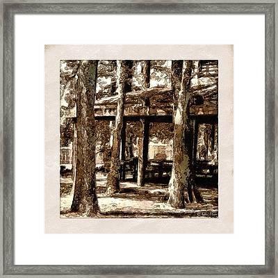Picnic Grove - Painted & Block Printed Framed Print