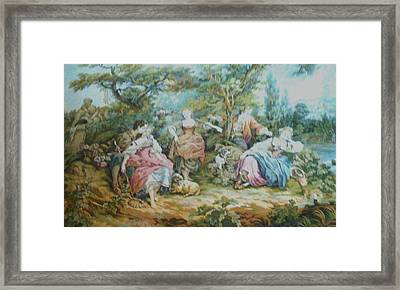 Picnic In France Tapestry Framed Print by Unique Consignment