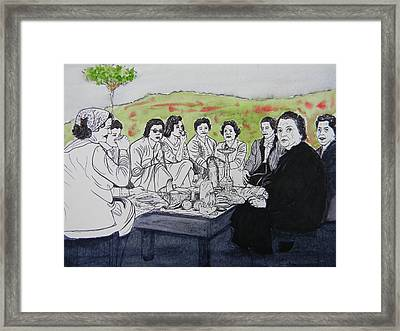 Picnic In The Mountains Framed Print by Marwan George Khoury
