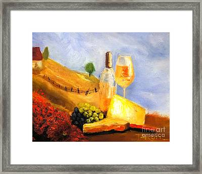 Picnic In The Vineyard Framed Print by Therese Alcorn