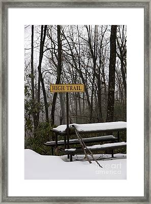 Picnic Table In Snow Framed Print by Will and Deni McIntyre