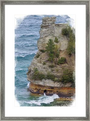 Framed Print featuring the photograph Pictured Rocks In Oil by Deniece Platt