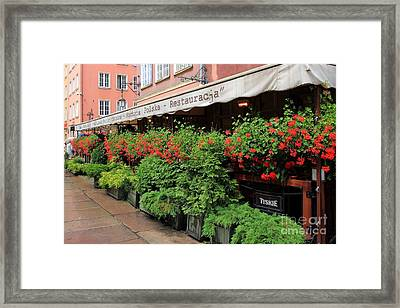 picturesque restaurant terrace in Gdansk Poland Framed Print by Sophie Vigneault
