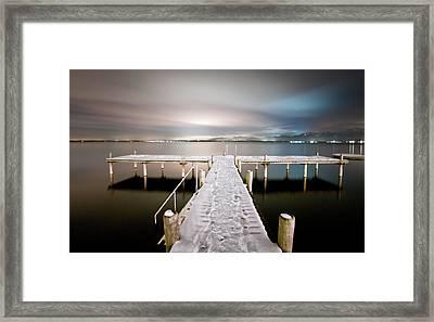 Pier At Night Framed Print