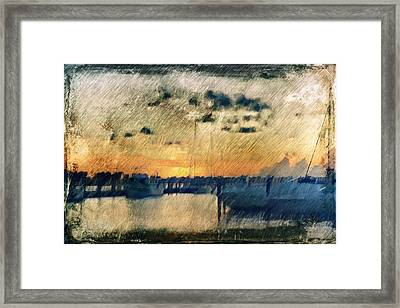 Pier At Sunset Framed Print by Andrea Barbieri