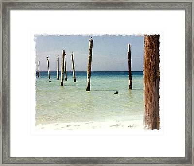 Pier Pilings Destin Fla Framed Print by Brenda Leedy