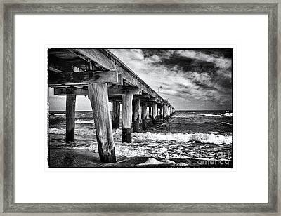 Pier To The Horizon - Black And White Framed Print