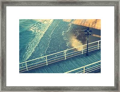 Pier With Lamp On Coast Of North Sea Framed Print by Photo by Ira Heuvelman-Dobrolyubova
