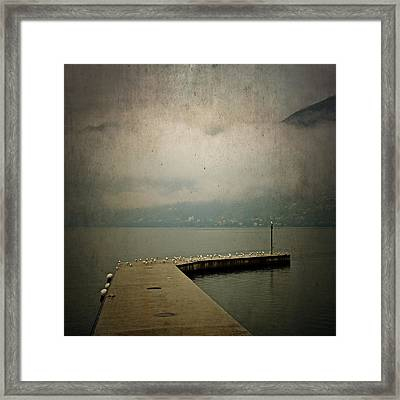 Pier With Seagulls Framed Print