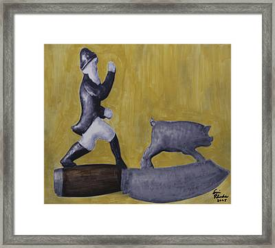 Pig Chasing Framed Print by Eric Rhodes