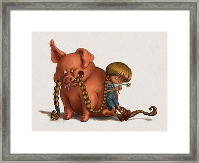 Pig Tales Chomp Framed Print by Andy Catling