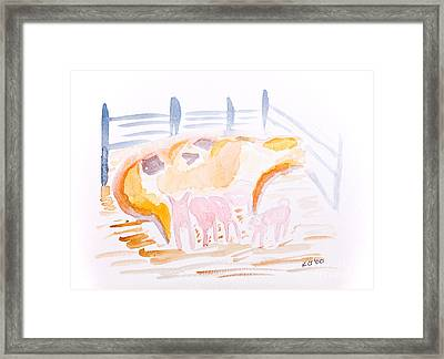 Pig With Piglets  Framed Print by Simon Bratt Photography LRPS