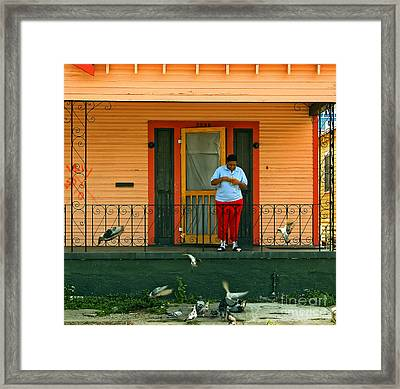 Pigeon Lady Of New Orleans Framed Print by Kathleen K Parker