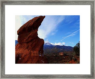Framed Print featuring the photograph Jut Rock Over Pikes Peak by Clarice  Lakota