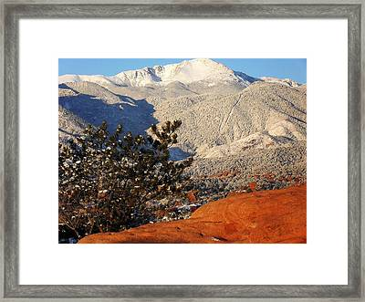 Framed Print featuring the photograph Pikes Peak Stunning Snow by Clarice  Lakota