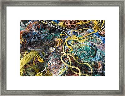 Pile Of Fishing Nets, Fishermans Terminal, Seattle, Wa Framed Print by Paul Edmondson
