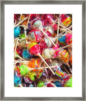 Pile Of Lollipops - Painterly Framed Print by Wingsdomain Art and Photography
