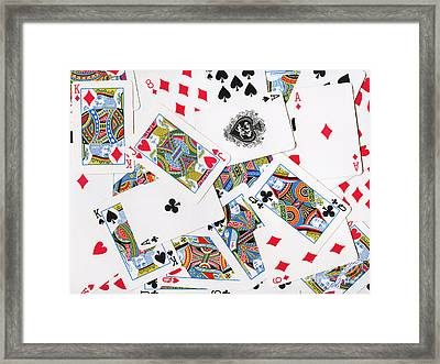 Pile Of Playing Cards Framed Print by Wingsdomain Art and Photography