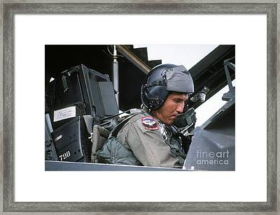 Pilot Sits In The Cockpit Of A F-117a Framed Print