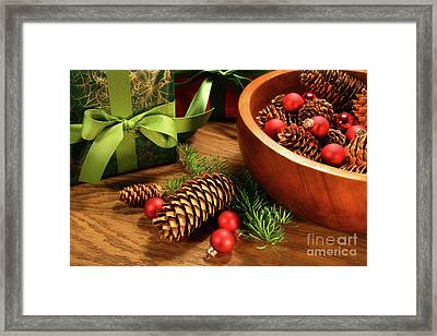 Pine Branches With Gift Tag  Framed Print by Sandra Cunningham