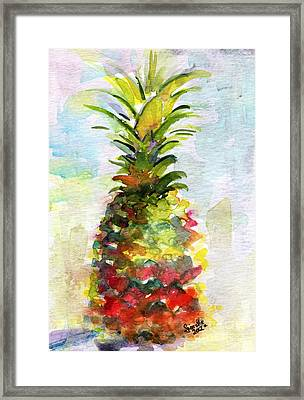 Pineapple Study Watercolor Framed Print by Ginette Callaway