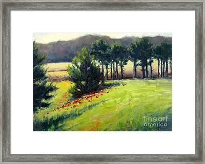 Pines On The Hill Framed Print by Vickie Fears