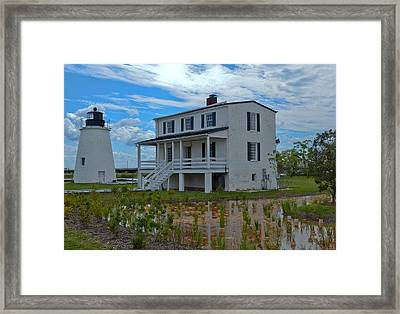 Framed Print featuring the photograph Piney Point Lighthouse by Kelly Reber