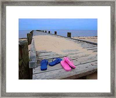 Pink And Blue Flip Flops On The Dock Framed Print by Michael Thomas