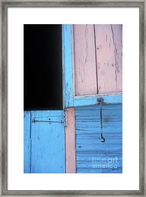 Framed Print featuring the photograph Pink And Blue Shutters Barahona Dominican Republic by John  Mitchell