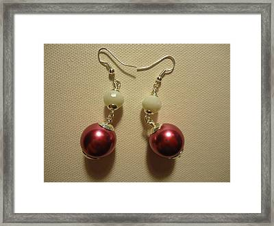 Pink And White Ball Drop Earrings Framed Print